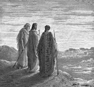 Jesus e os discípulos indo para Emaus - Dore
